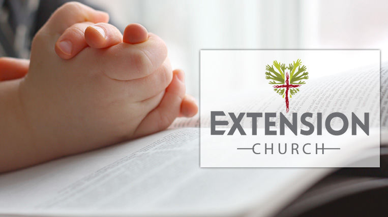 Praying Toddler with Extension Church Logo